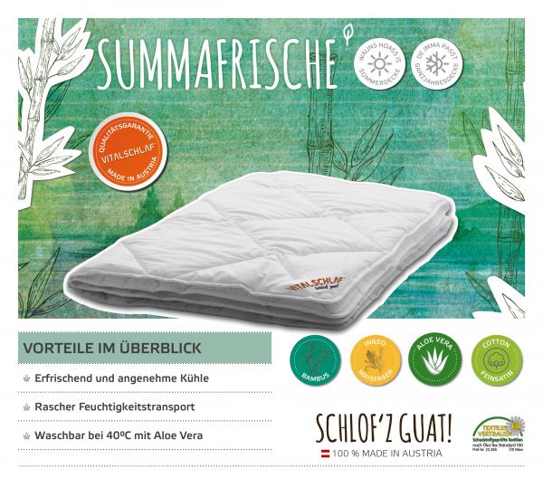 Vitalschlaf® GmbH - Summafrische - Naturfaser. Sommer: Sommer - Single. Maßgefertige Schlafsysteme und Bettwaren von Vitalschlaf: Ihre individuelle & vitale Schlafwelt aus Österreich.